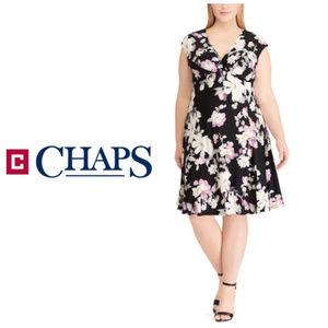 Plus Chaps Womens Black Floral Faux Wrap Dress 22W